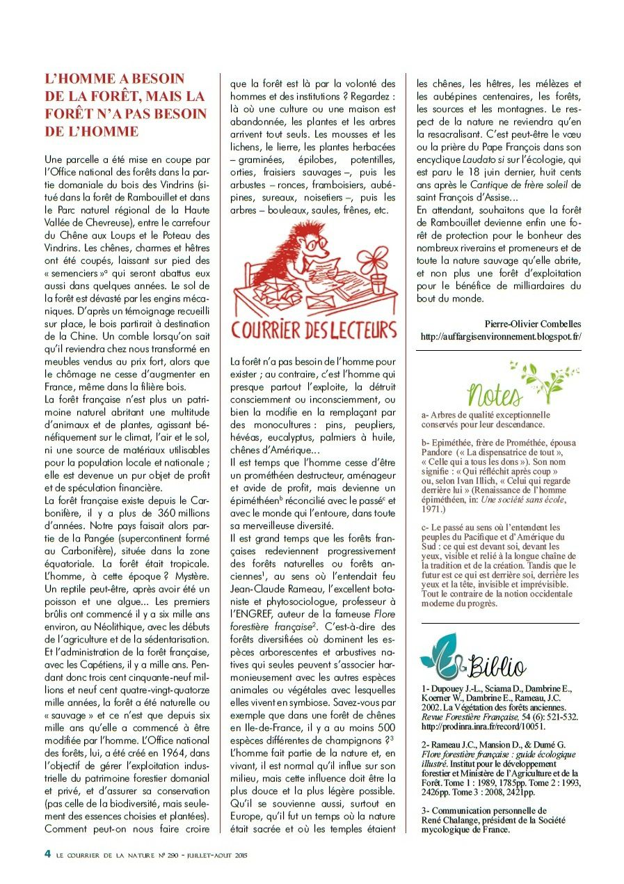 In: Le Courrier de la Nature, revue de la Société nationale de protection de la nature (S.N.P.N.).