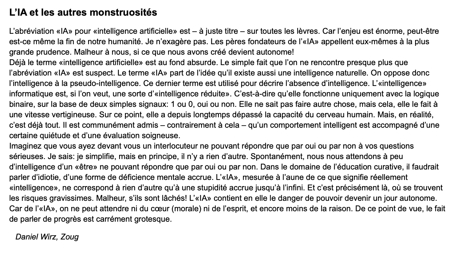 L'IA (Intelligence artificielle) et autres monstruosités, par Daniel Wirz (Zoug, CH), Horizons et Débats N°24, 11 nov. 2019