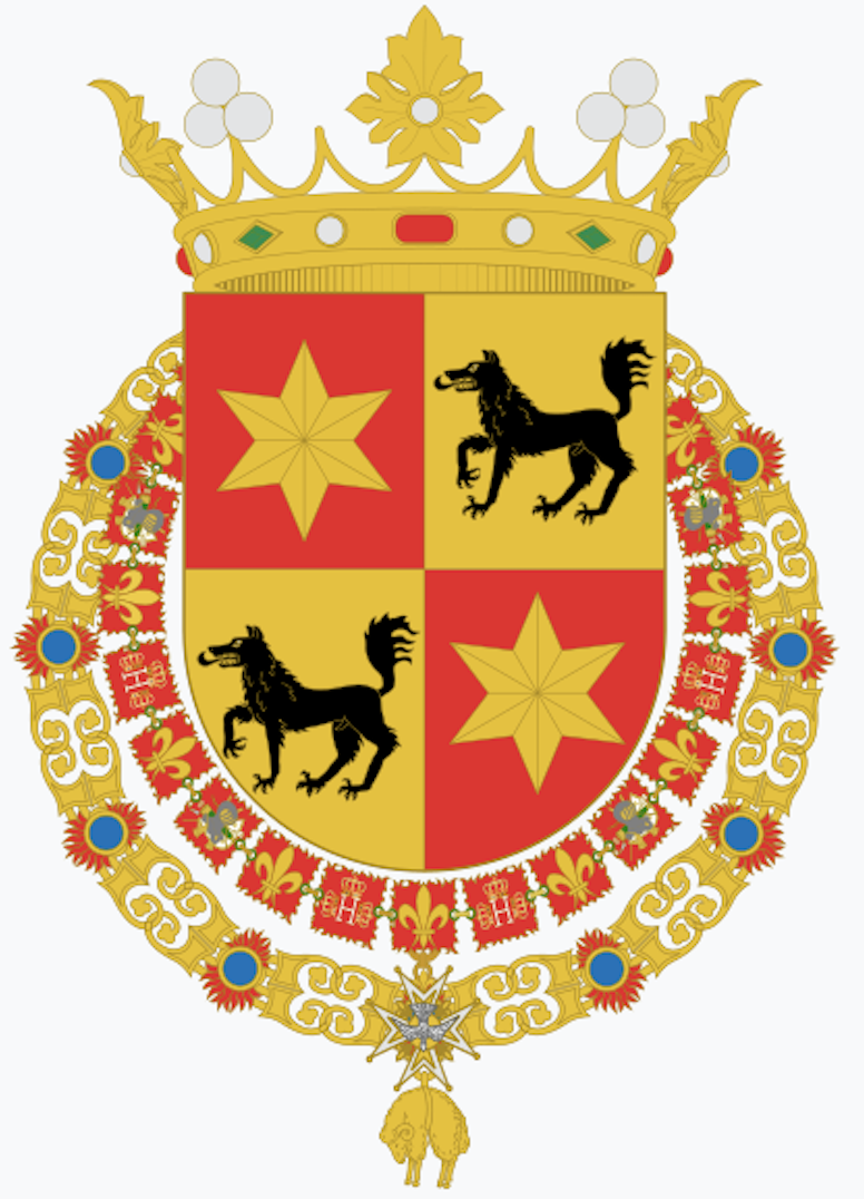 Blas de Lezo coat of arms: Coronet of a Marquess (posthumously bestowed) Escutcheon Quartered shield: first and fourth, gules, a star or; Second and third, or, a wolf sable Orders The Order of the Holy Spirit collar The Order of the Golden Fleece collar. Source: Wikipedia