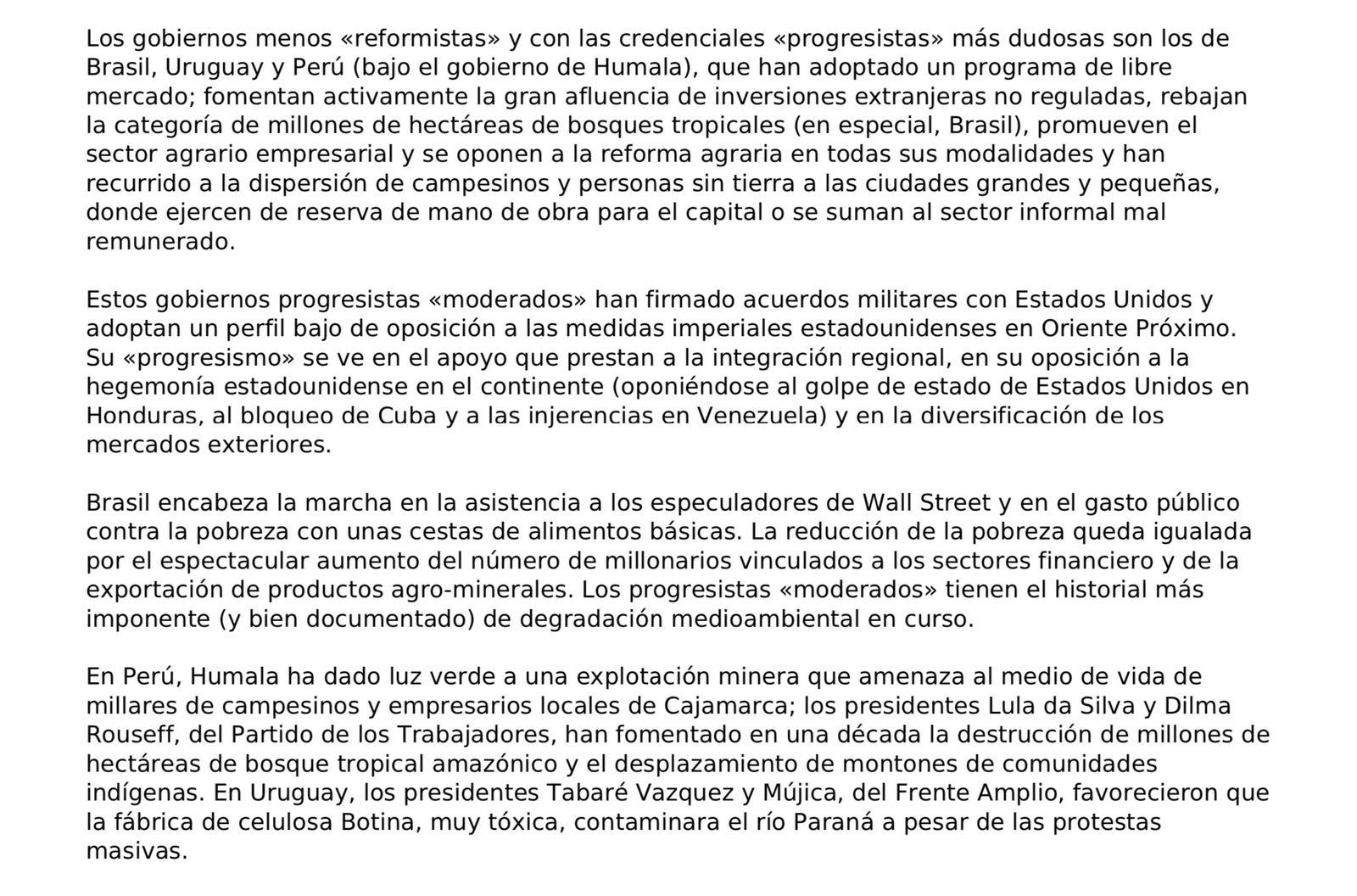 James Petras: El capitalismo extractivo de Evo, Cristina, Ollanta, Correa, Dilma y Chávez