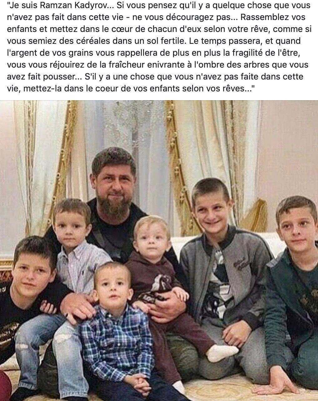 Ramzan Kadyrov est le chef de la république de Tchétchénie. Son père, Akhmad Kadyrov, était un ancien grand mufti et homme politique, président de la république de Tchétchénie de 2003 à 2004. Né en 1976, il est père de 12 enfants.