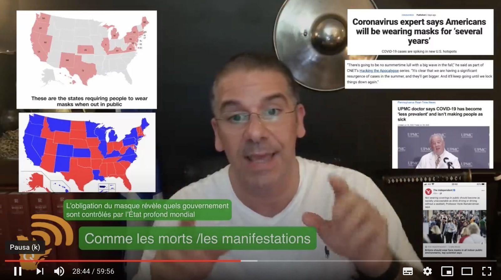 Cartes à gauche, les États US où le masque est obligatoire sont les États démocrates, et donc mondialistes.