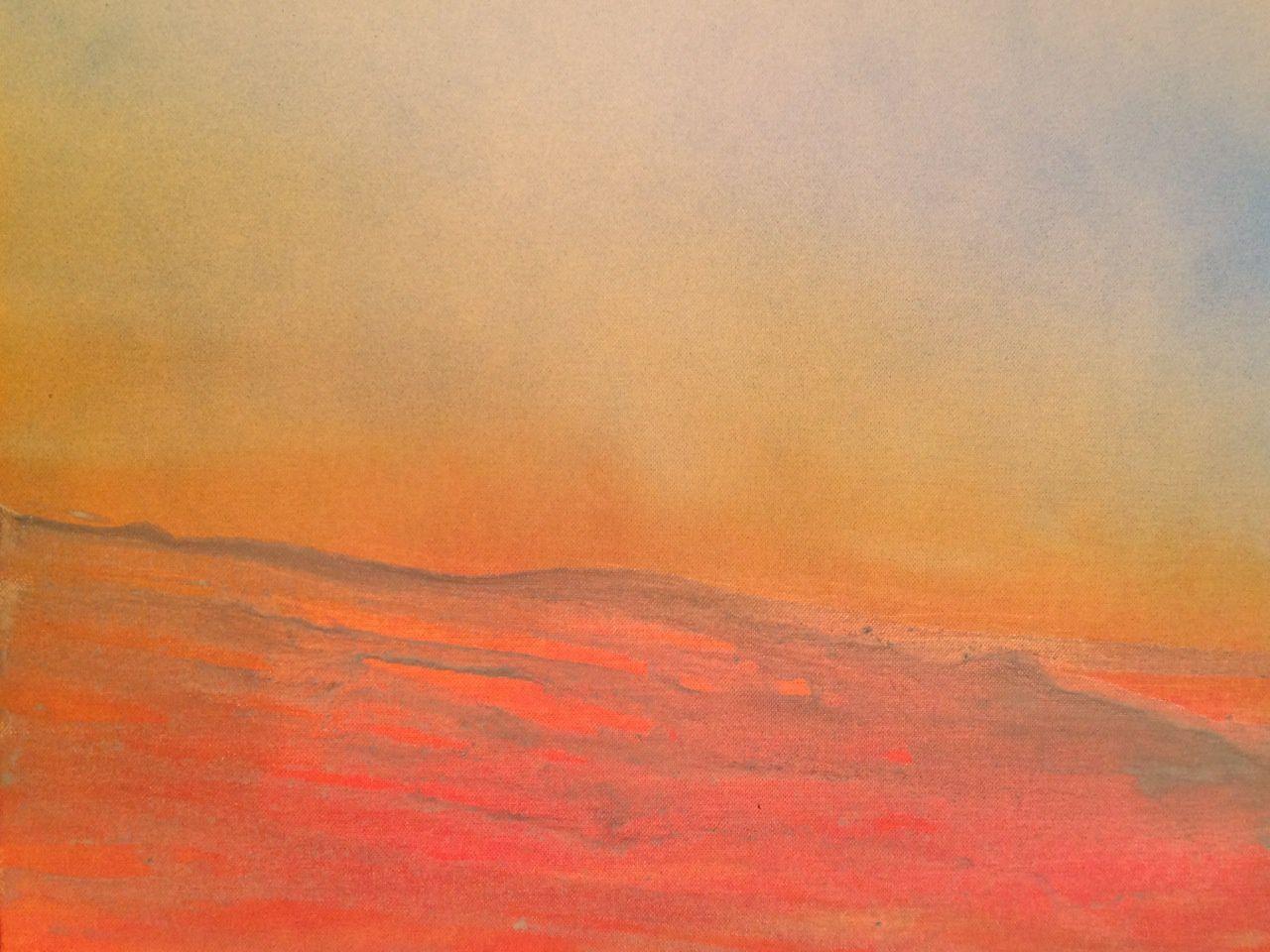 Couchant (Acrylique 8P sur carton toilé inséré dans une caisse américaine) -  Soleil couchant sur Saint-Gervais (Aquarelle 20*15)