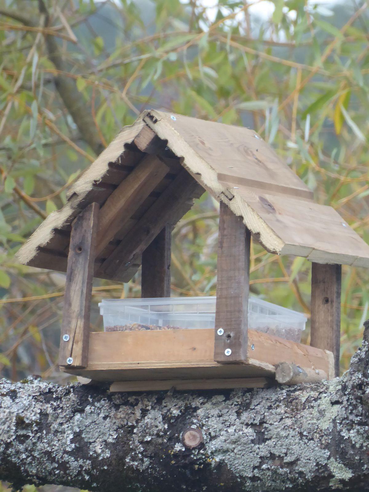 La cabane/mangeoire à oiseaux