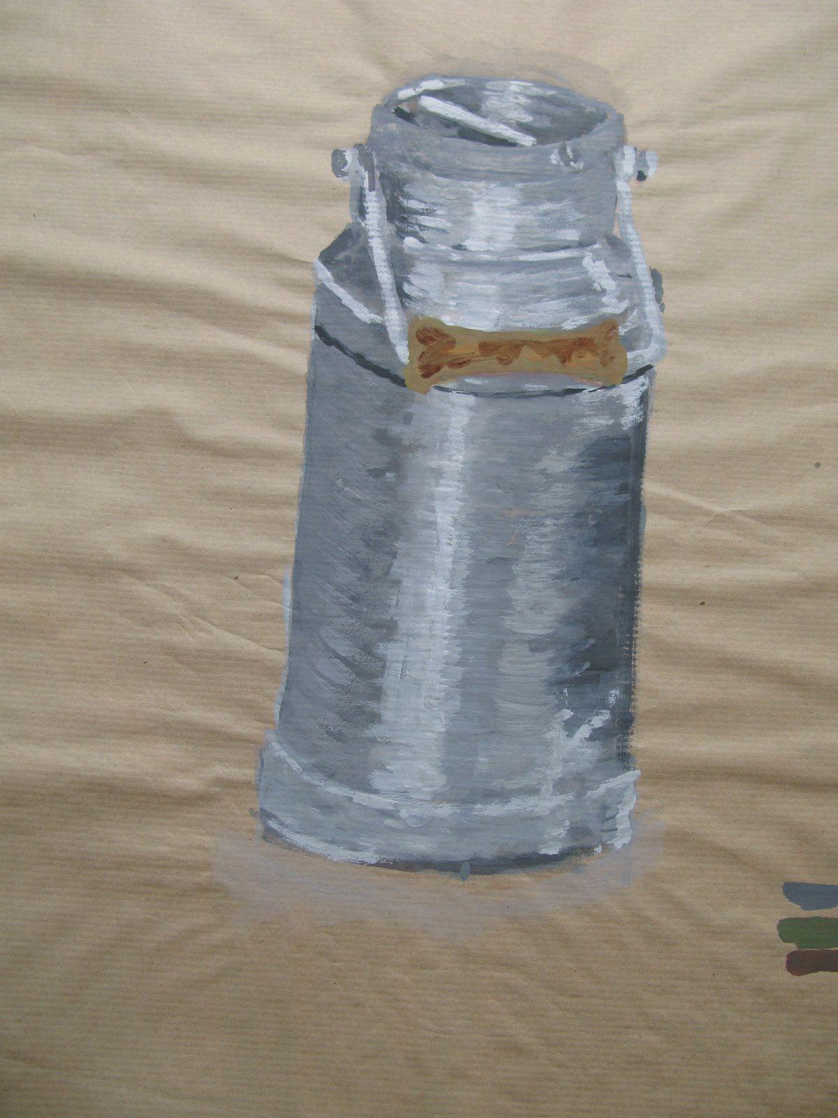 pot de lait peinture ou craie-  ecole des beaux arts- charlotte laforgue