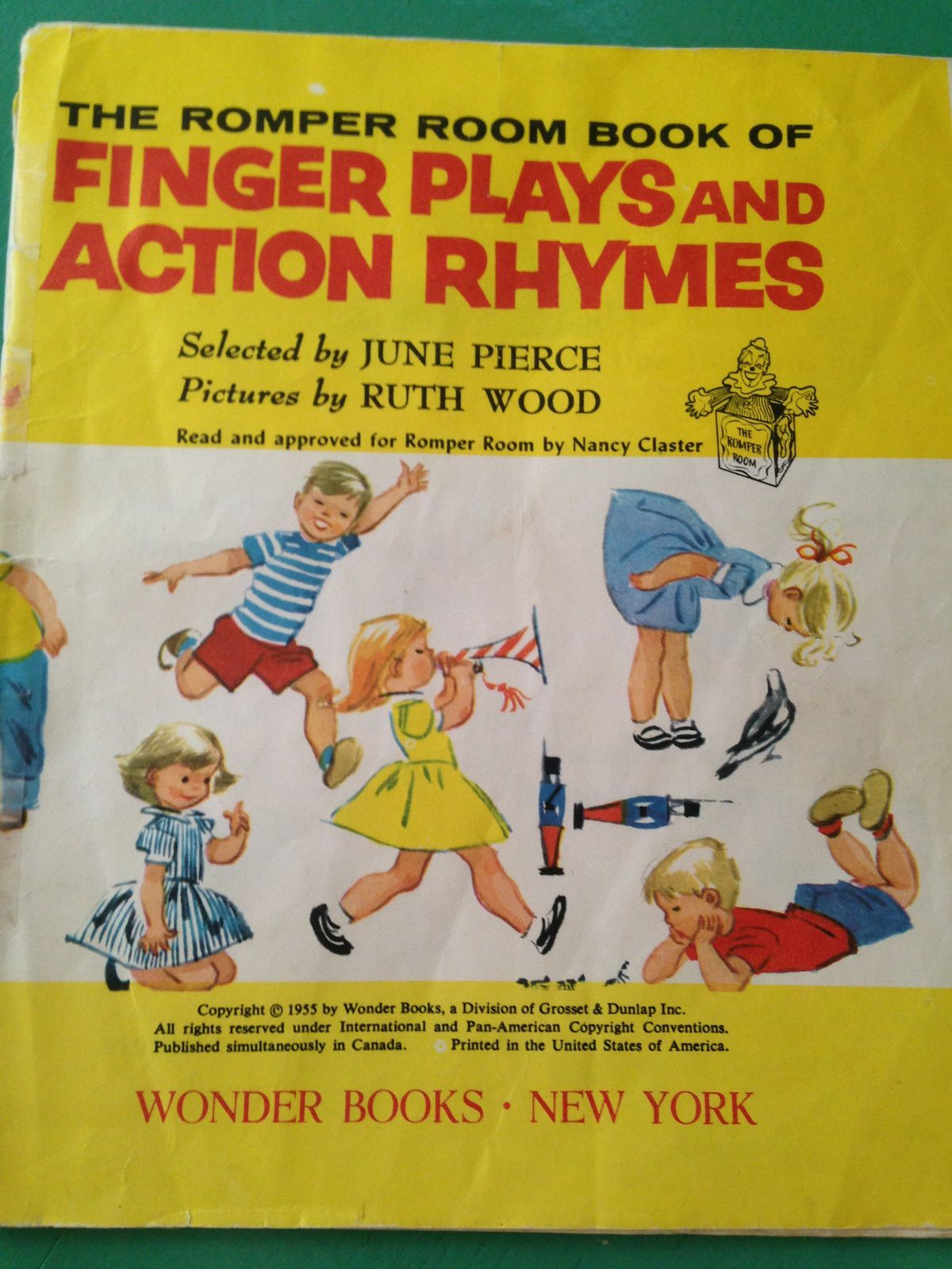 #childrenbook #romperbook : the romper room book offinger plays andaction rymes of #junePierce, #RuthWood #songs, famous for #children