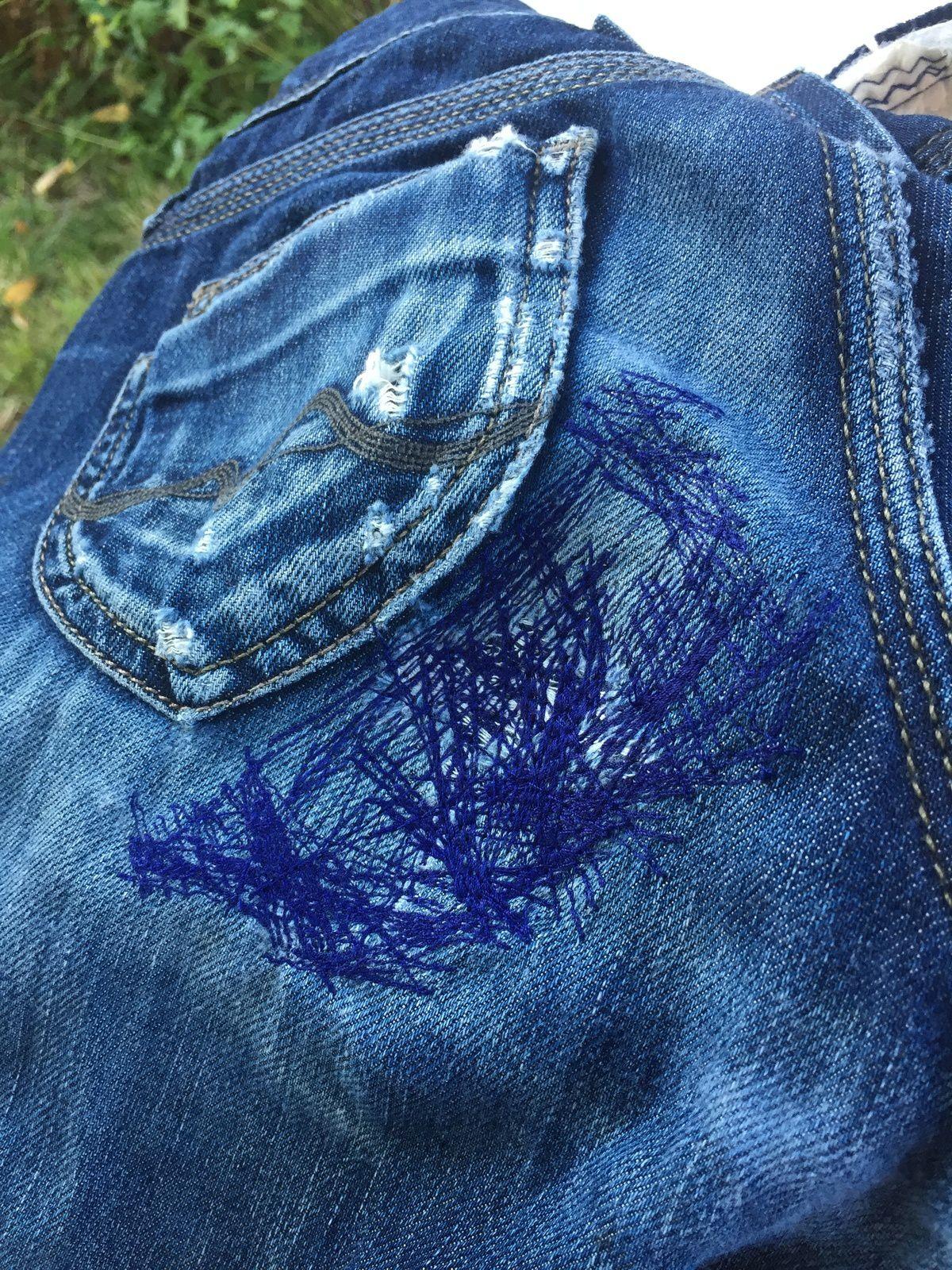 couture reprise d'un jean troué #jean #raccommoder #charlotteblablablog