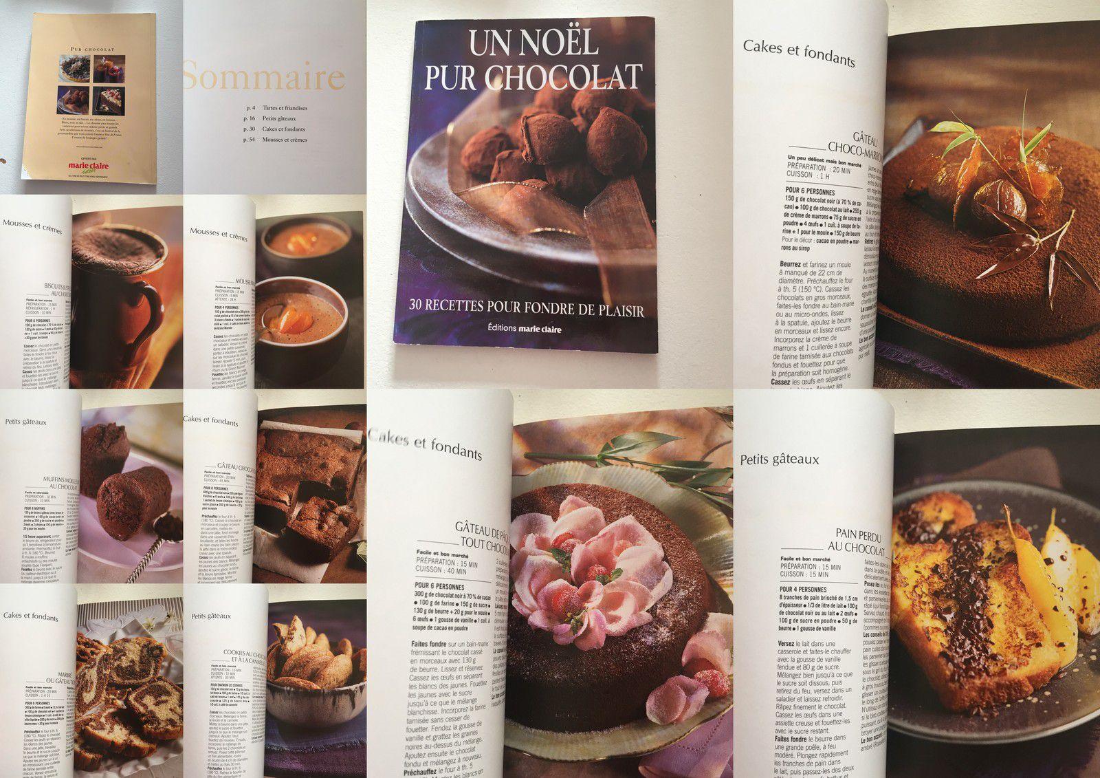 livre recettes  noel pur chocolat,recettes: tartes , friandises, cakes, fondants, mousse, crème, marie-claire, sur charlotteblabla blog