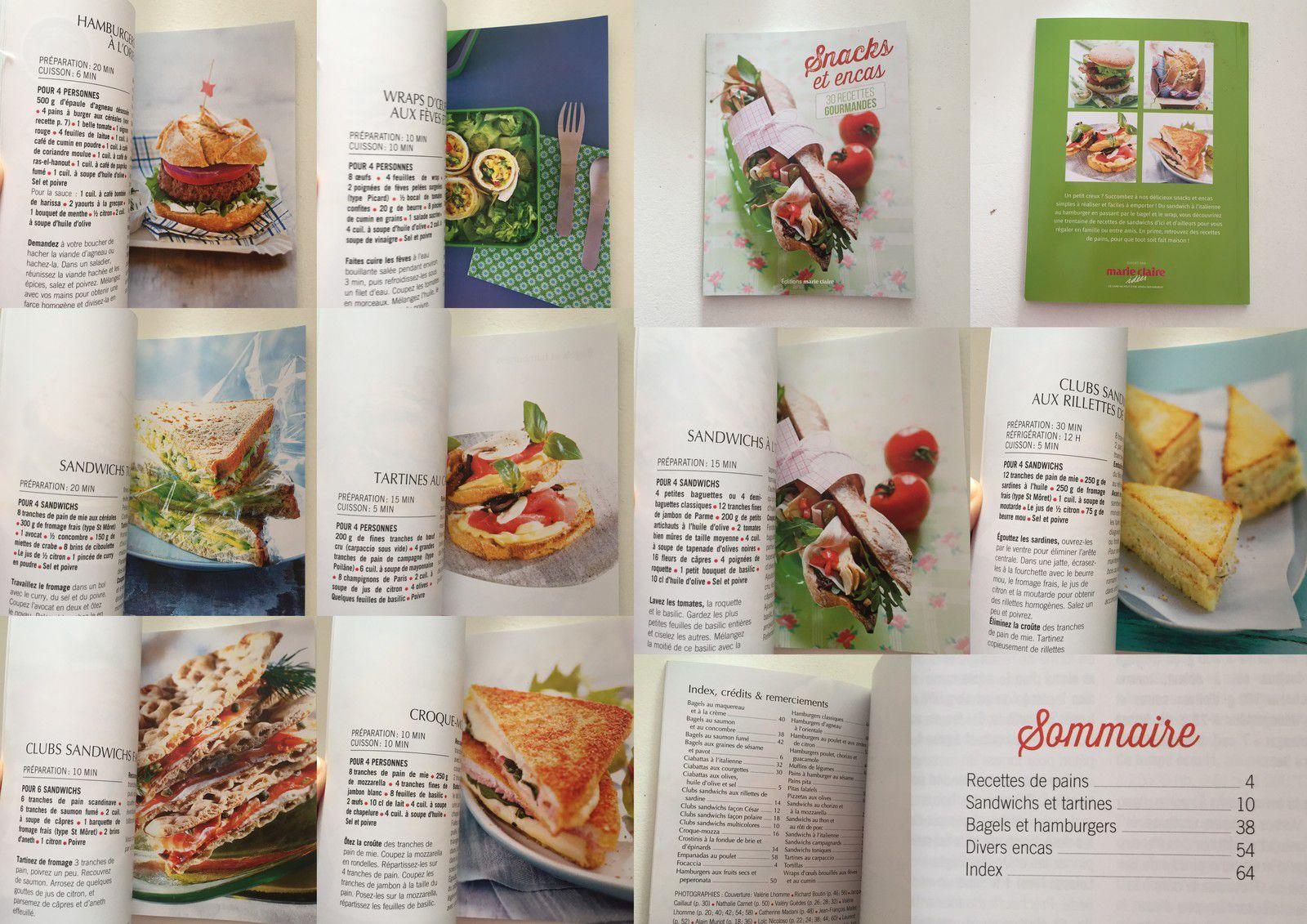snacks et en-cas  recettes livre marie claire sur charlotteblabla blog