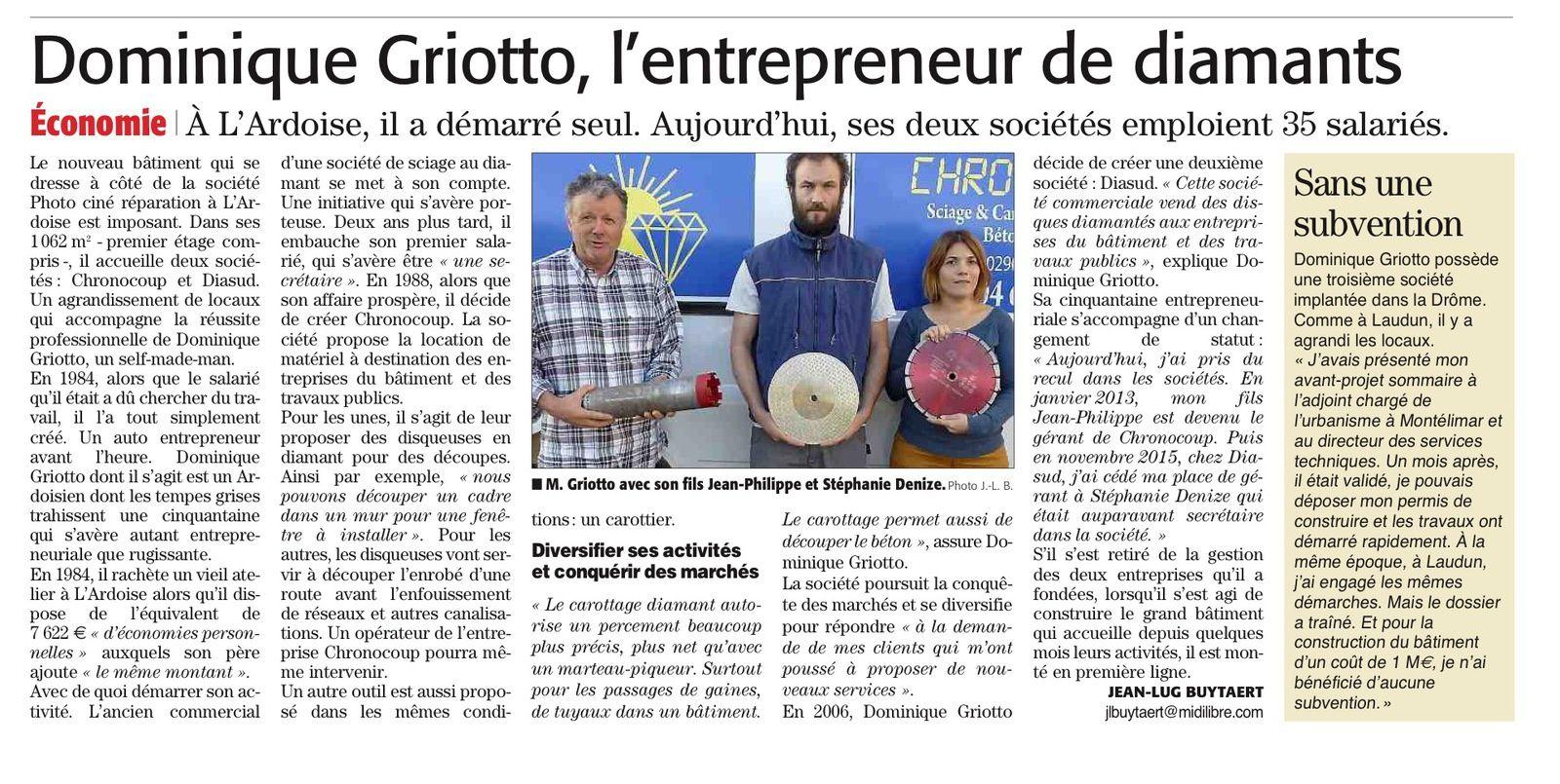 La réussite professionnelle de Dominique GRIOTTO ne passe pas par la commune