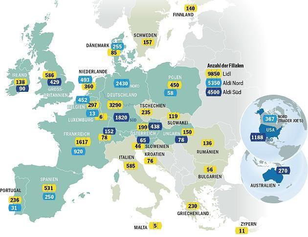 LIDL et ALDI réunis possèdent 19 700 filiales dans le monde, ce qui représente un formidable relais d'écoulement de la production agroalimentaire allemande. Infographie : Focus ©