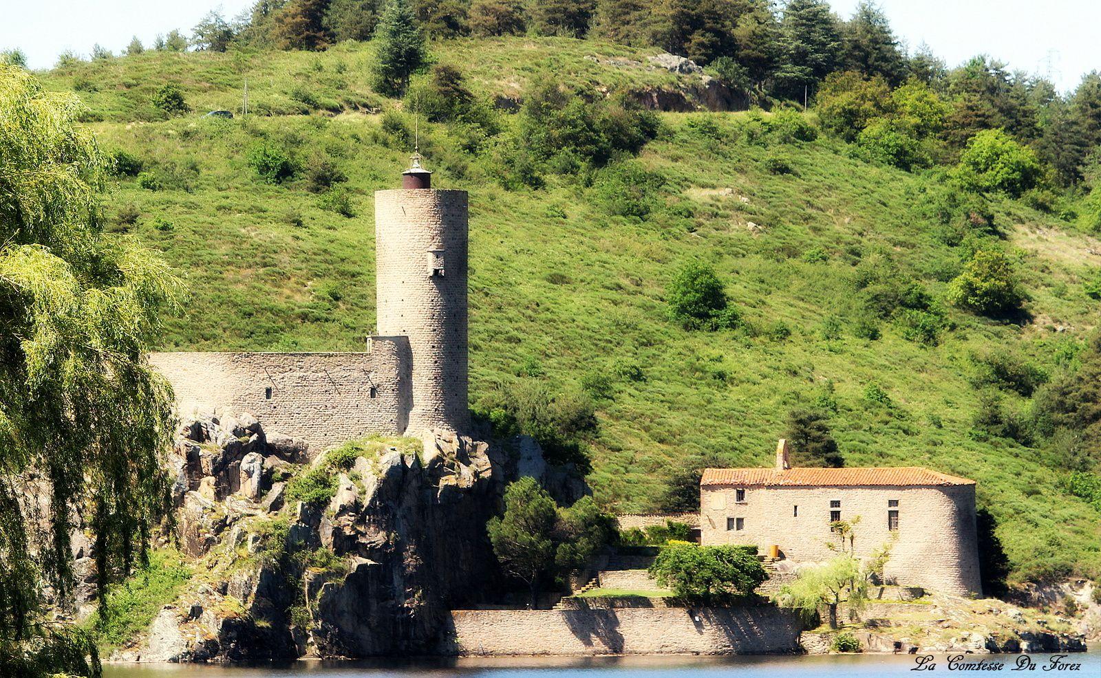 vu sur l'île de Grangent avec sa tour médiéval et sa chapelle