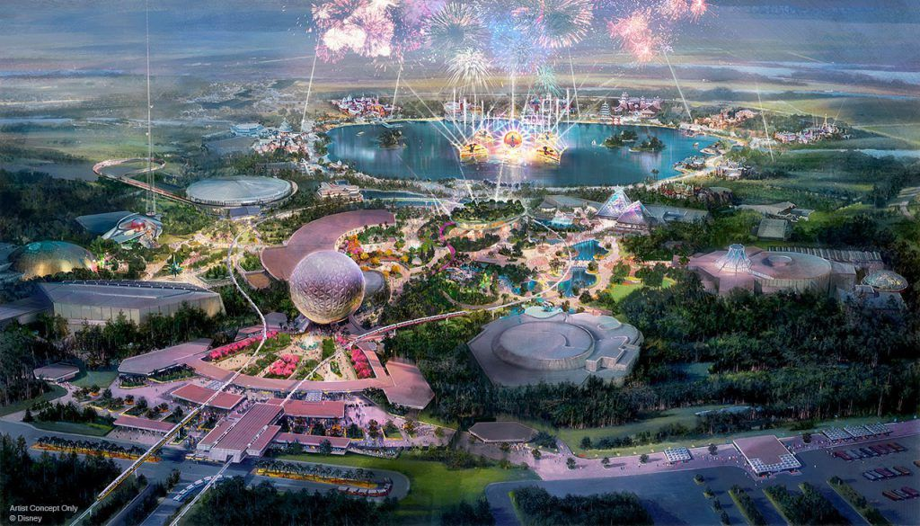 Illustrations du parc Epcot transformé © Disney