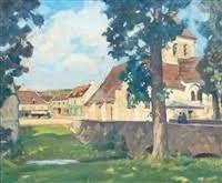 Henri Alexandre Sollier -1896.1966- La place de l'église à Saint-Cyr sur Morin