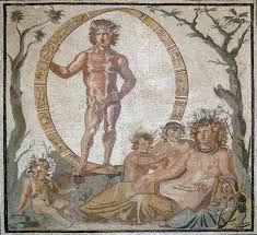Éon et Tellus (Gaïa) entourée de quatre enfants, peut-être les saisons personnifiées, mosaïque romaine d'une villa de Sentinum, début iiie siècle, Glyptothèque de Munich (Inv. W504)