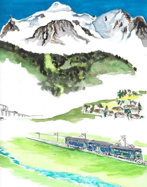 Le Mont Blanc, tel qu'il surgit de la Plaine de Sallanches, 4300 m, une dimension Himalayenne......