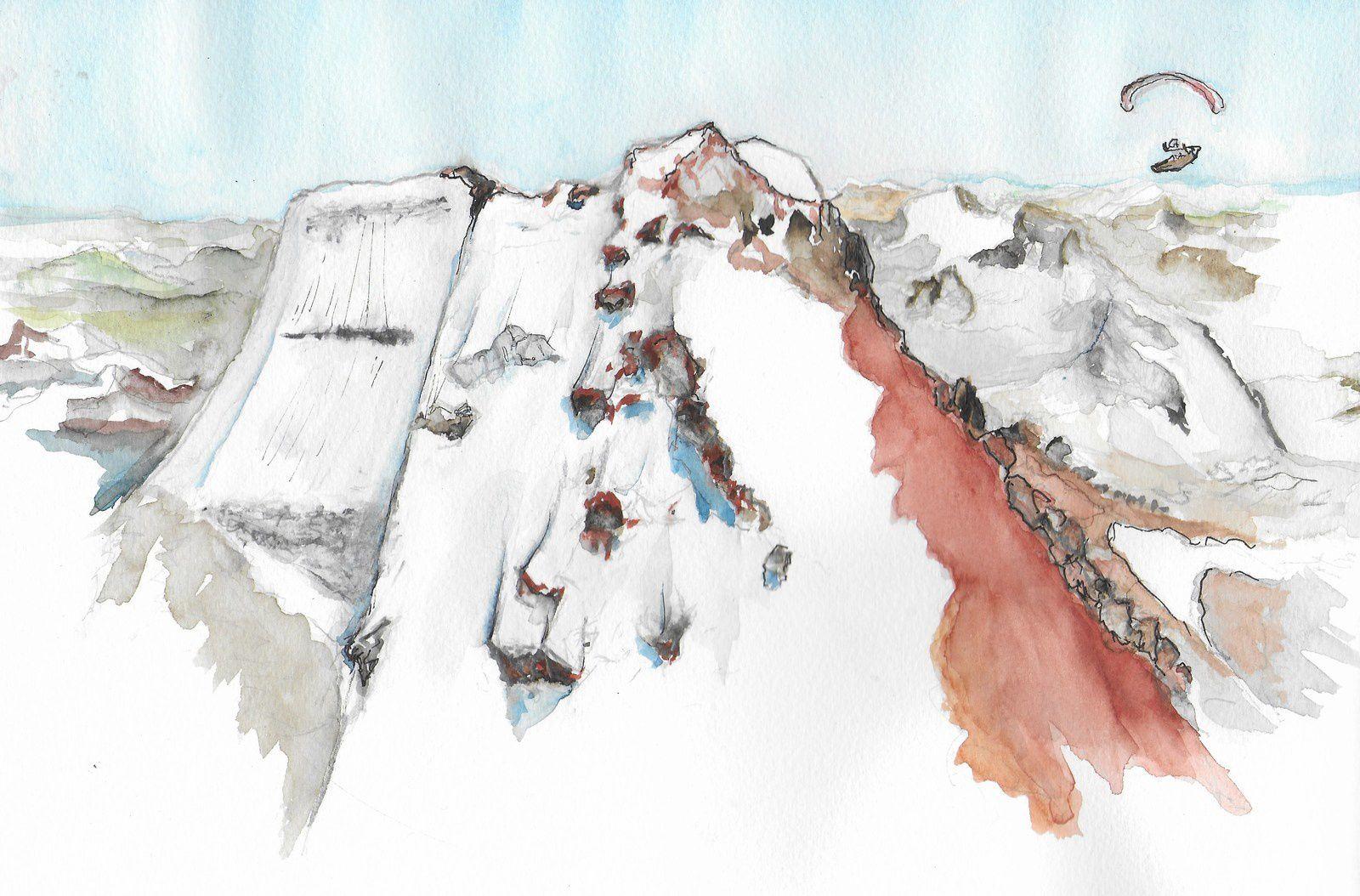 Au dessus du glacier des Polacos