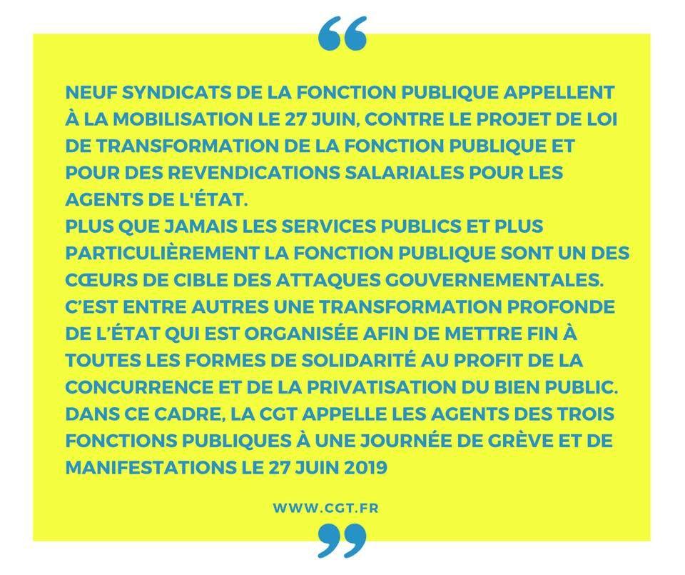 Rassemblement  27 juin 2019 devant la préfecture pour tous les Fonctionnaires 12h 14h