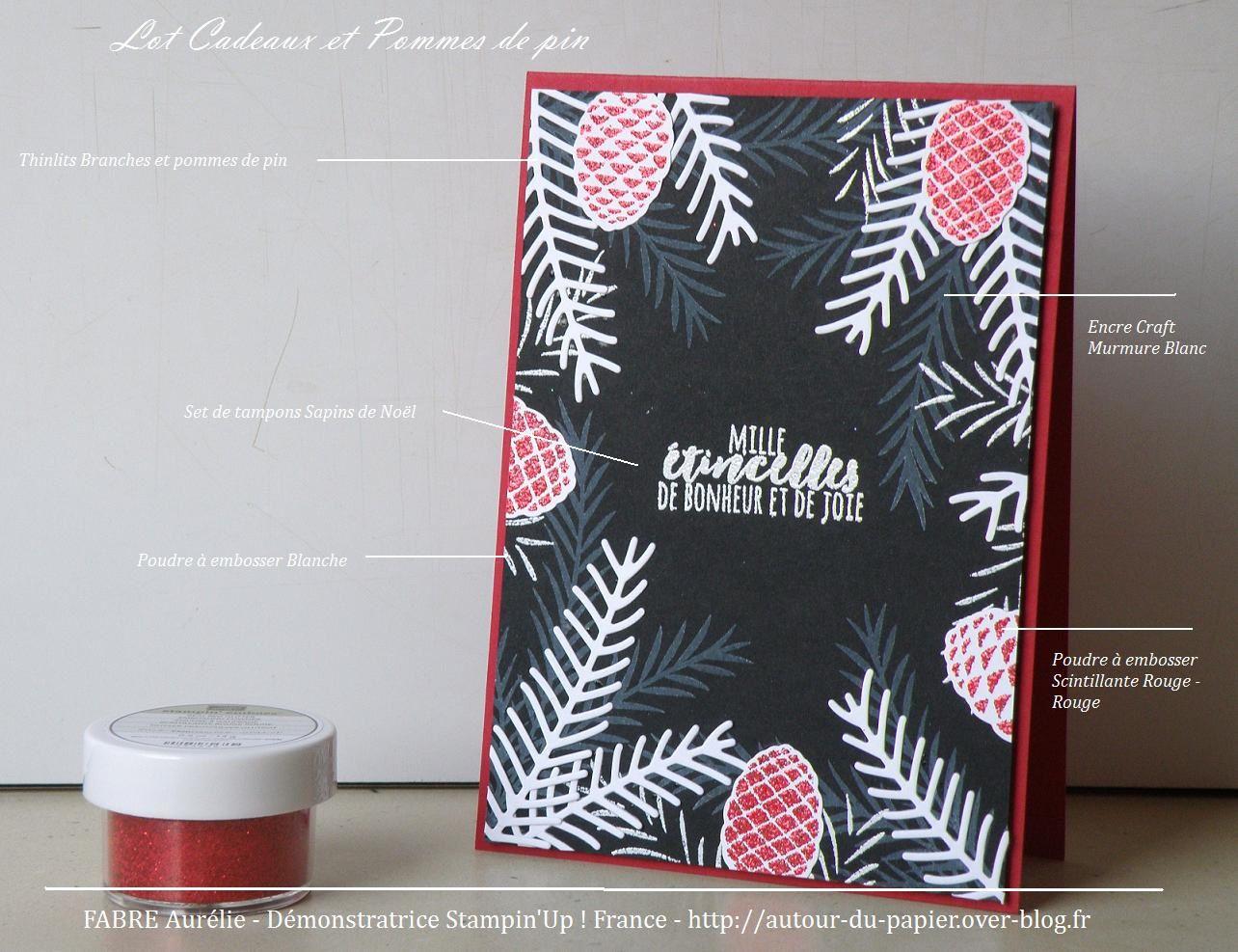 Papier : Noir Nu, Rouge Rouge, Murmure Blanc. Encres : Craft Blanche, Versamark. Lot Branches et Pommes de pin. Poudre à embosser scintillante Rouge Rouge et Blanc.