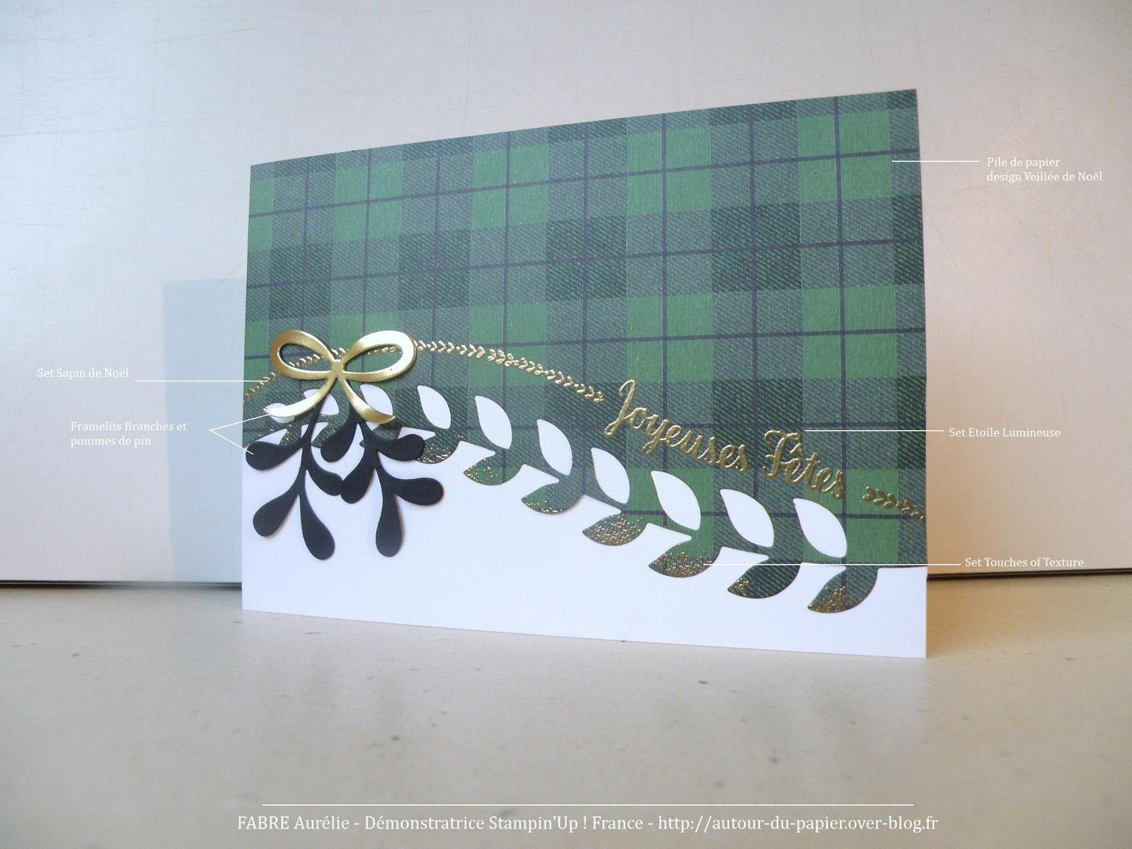 Papier : Murmure Blanc, Noir Nu, Métallique Or, Pile de papier Design Veillée de Noël. Set : Touches of texture, Sapin de Noël, Etoile Lumineuse. Big Shot : Thinlits Branches et pommes de pin. Poudre à embosser Or