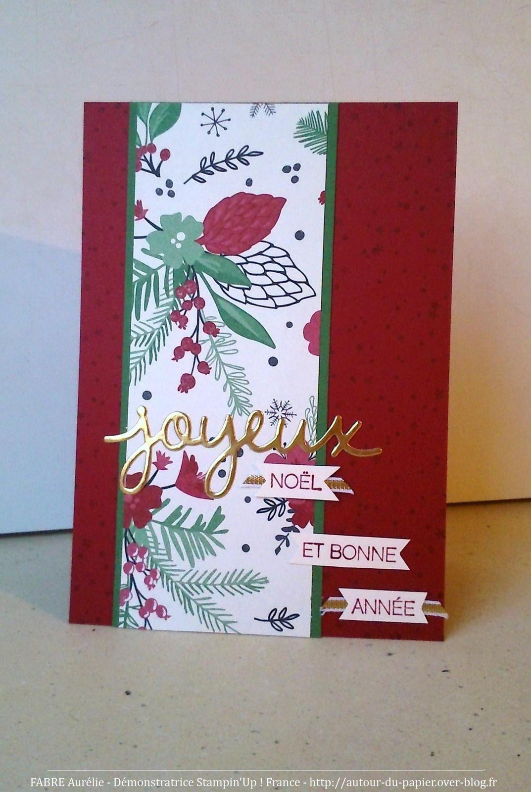 Papier : Cerise Carmin, Vert Jardin, Spécialité Pour Noël, Très Vanille. Set de tampons Souhaits de Joie. Thinlits Voeux. Pinceau Wink Ot Stella. Ruban or 1/8
