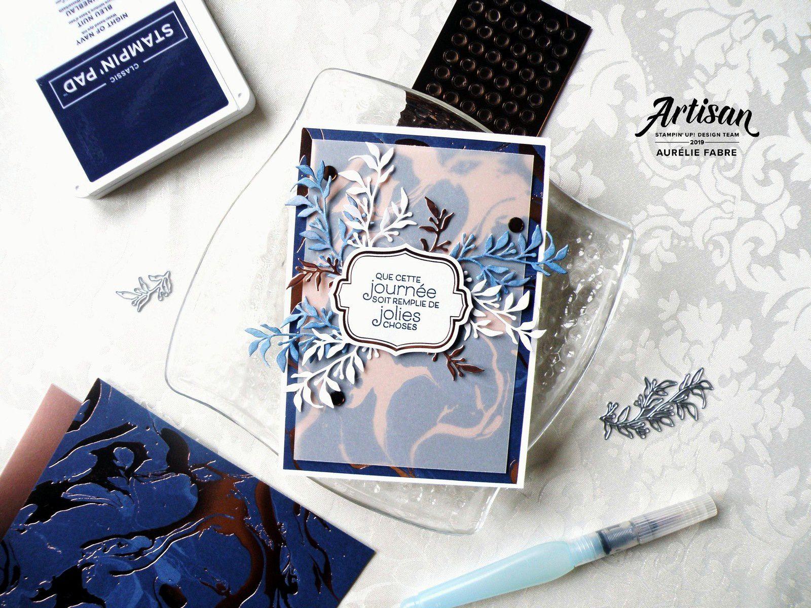 Carte Bleu et Or rose réalisée avec la Mini Collection Everything Is Rosy - Aurélie Fabre
