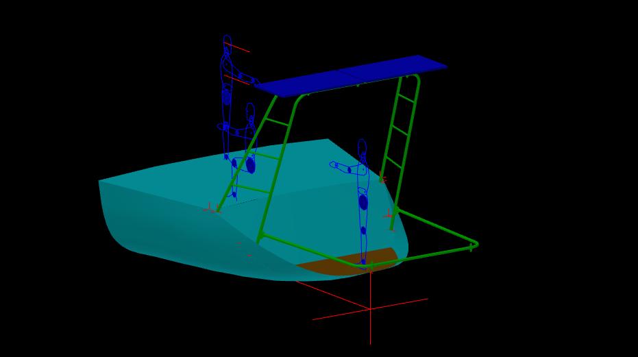image 3 D avec le bossoir baissé pour prendre l'annexe