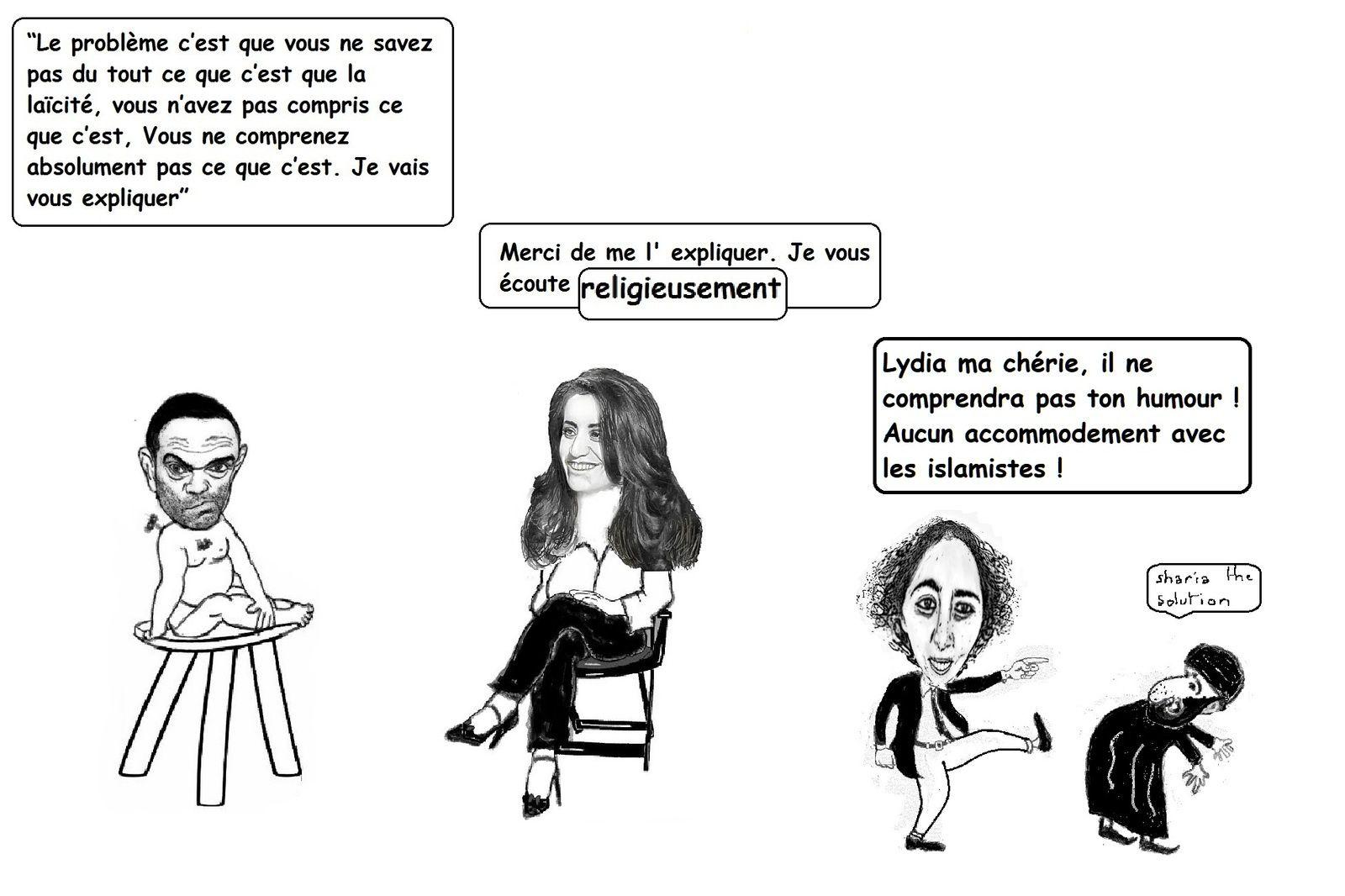 """Hommage à Lydia Guirous, Zineb El Rhazoui, Jeannette Bougrab, Zohra Bitan, Fatiha Boudjahlat et  Fadila Maaroufi, cinq femmes françaises et une belge contre les """"accommodements raisonnables"""" vis à vis de l' Islam intégriste."""