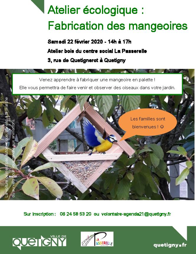 Samedi 22 février 14h - 17h : fabriquez une mangeoire pour les oiseaux !