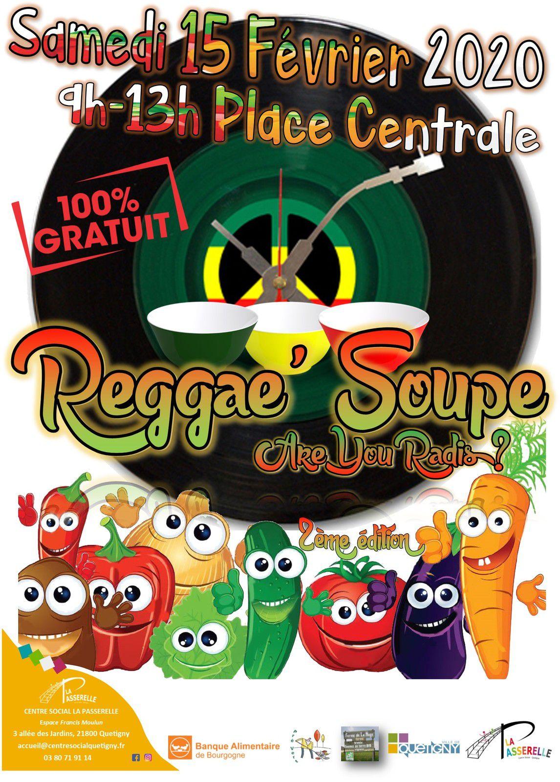 Samedi 15 février 9h - 13h : Reggae Soupe sur le P'tit marché bio de Quetigny