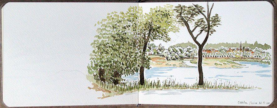 Châtillon-sur-Loire - Encre de Chine et aquarelle - Mai 2020