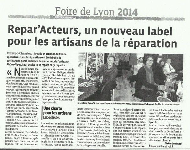 """Foire de Lyon 2014 """"Répar'acteur"""""""