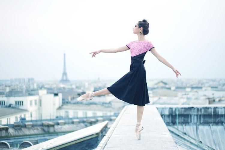 Mathilde Froustey on the roof of the Palais Garnier. Photo by Erik Tomasson.