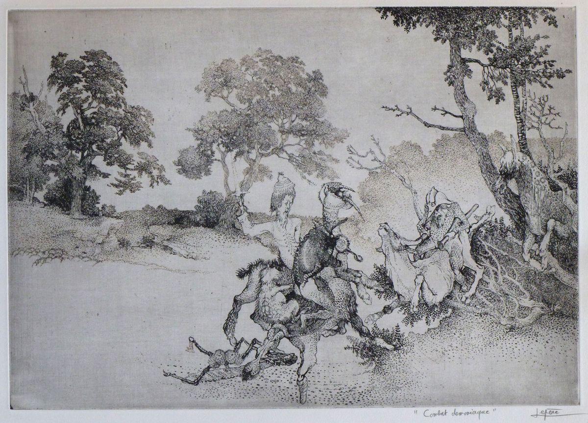 """""""Combat démoniaque"""" - gravure à l'eau-forte imprimée sur poapier Arches - 1961"""