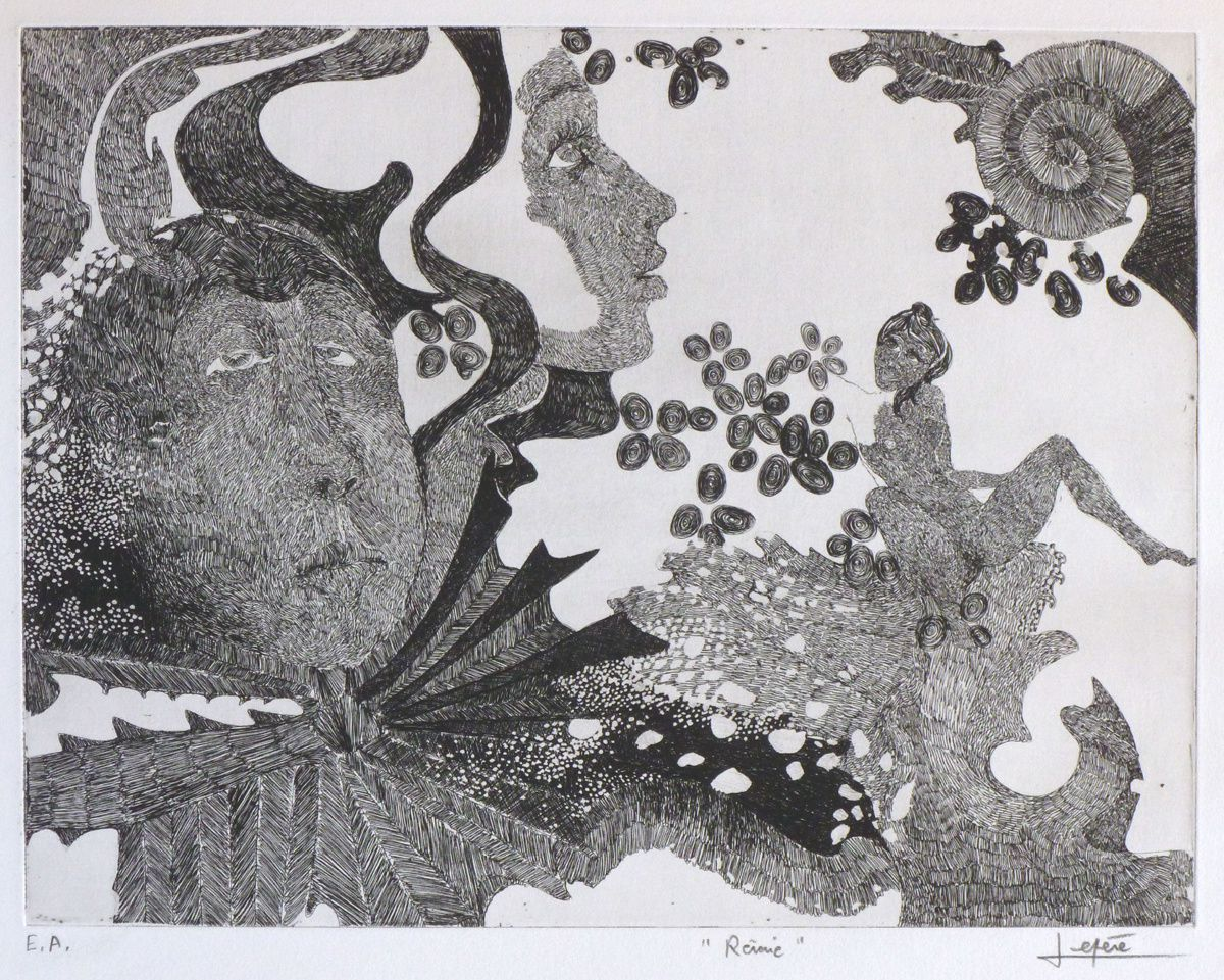 """""""Rêverie"""" - Gravure imprimée sur papier Arches - 1968"""