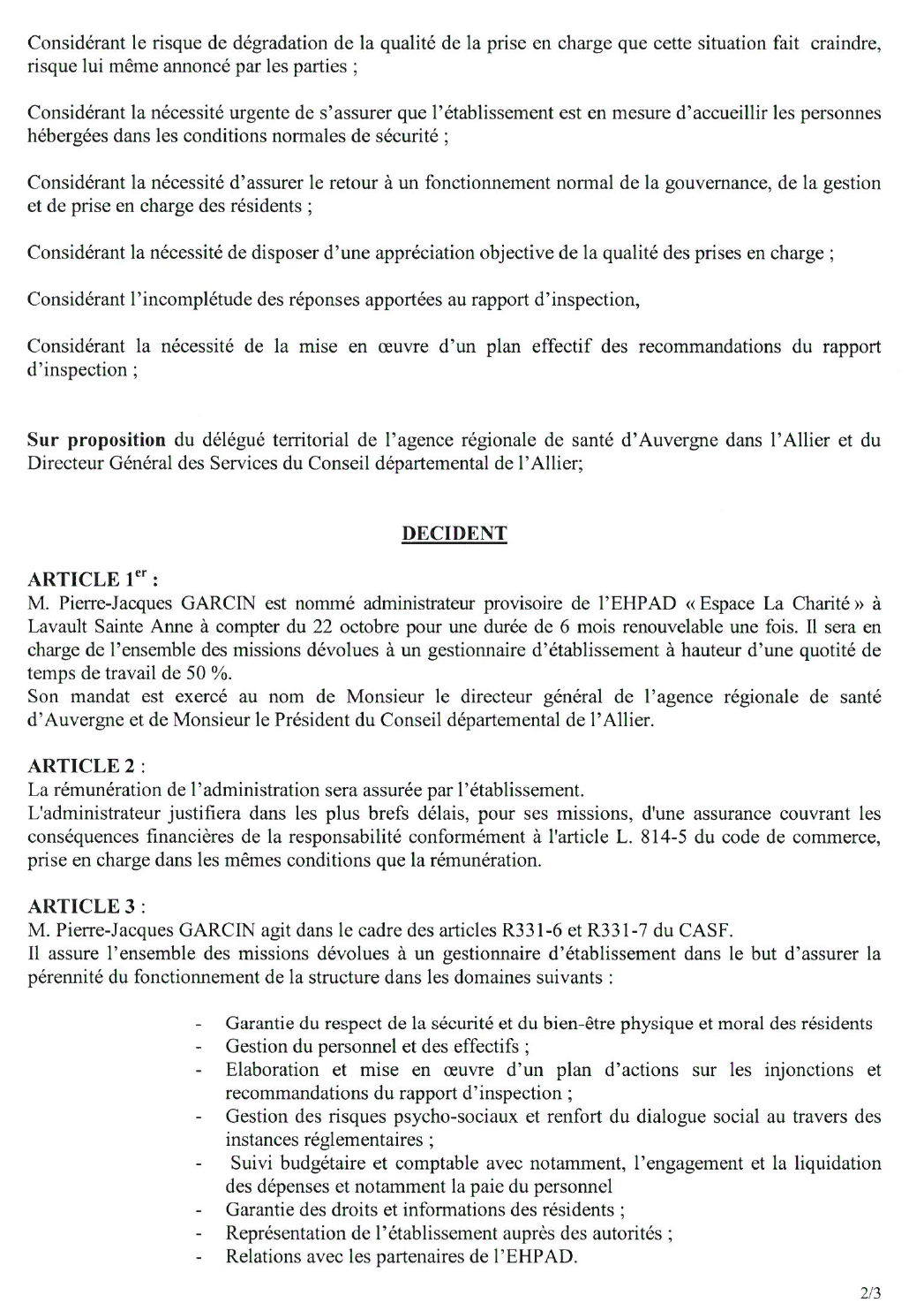 l'arrêté de sésignation d'une administration provisoire promulgué par l'ARS et le Conseil départemental