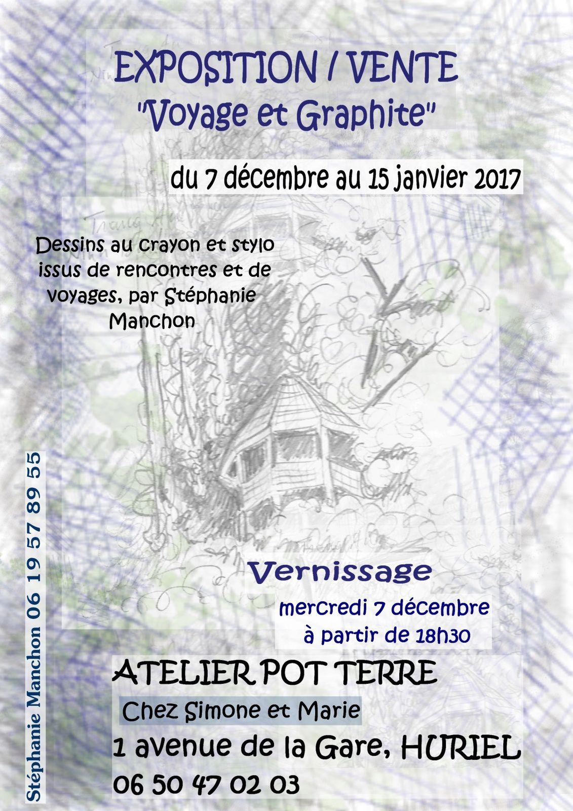 """Exposition """"voyage et graphite"""" chez Simone et Marie"""