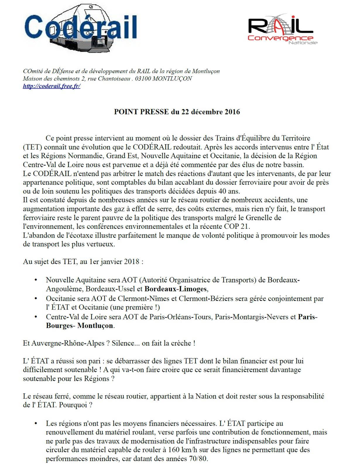 Pour le CODERAIL, l'accord entre l'État et la Région centre n'améliorera pas la desserte de Montluçon