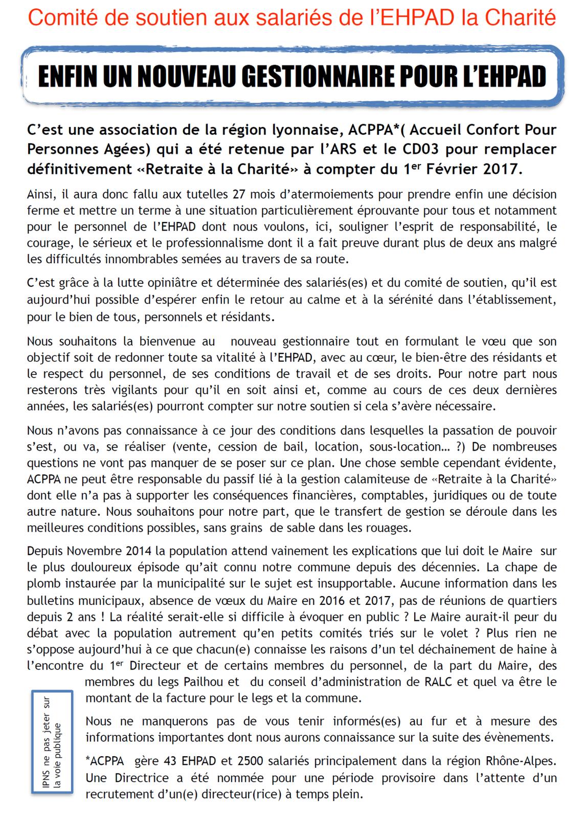 Une association lyonnaise reprend la gestion de l'EHPAD de la Charité à Lavault-Sainte-Anne