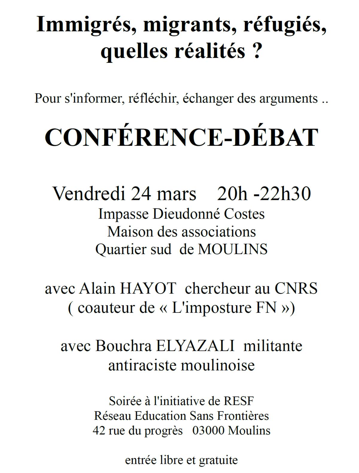 RESF organise une soirée contre le racisme et l'antisémitisme à Moulins