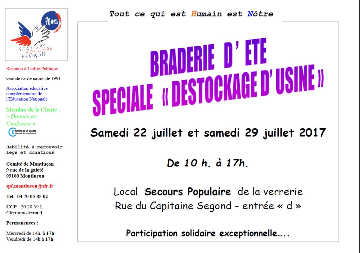Braderie exceptionnelle à Montluçon organisée par le secours populaire