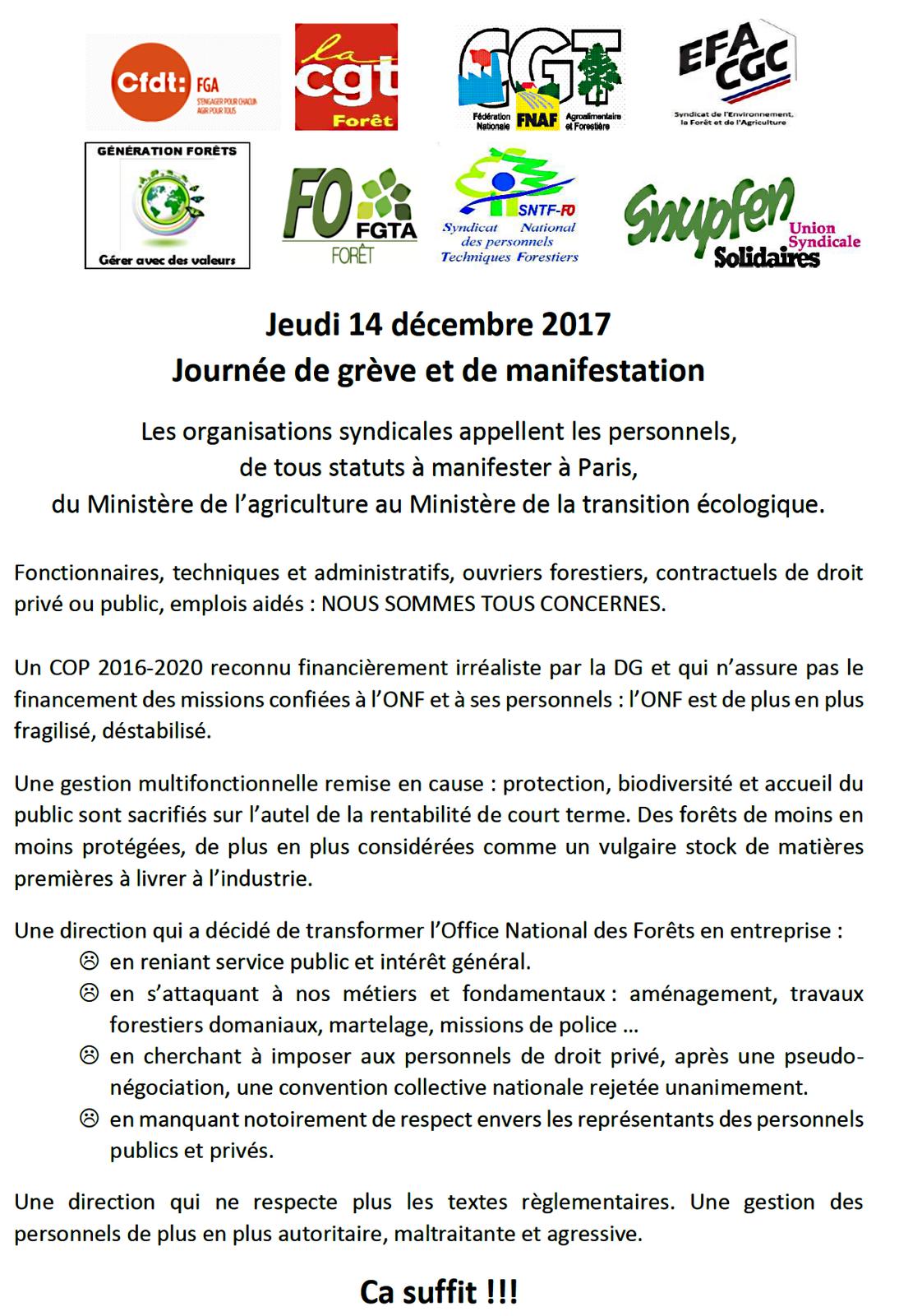 Le 14 décembre, les forestiers manifestaient à Paris pour que les missions de service public de l'ONF ne soient pas dévoyées
