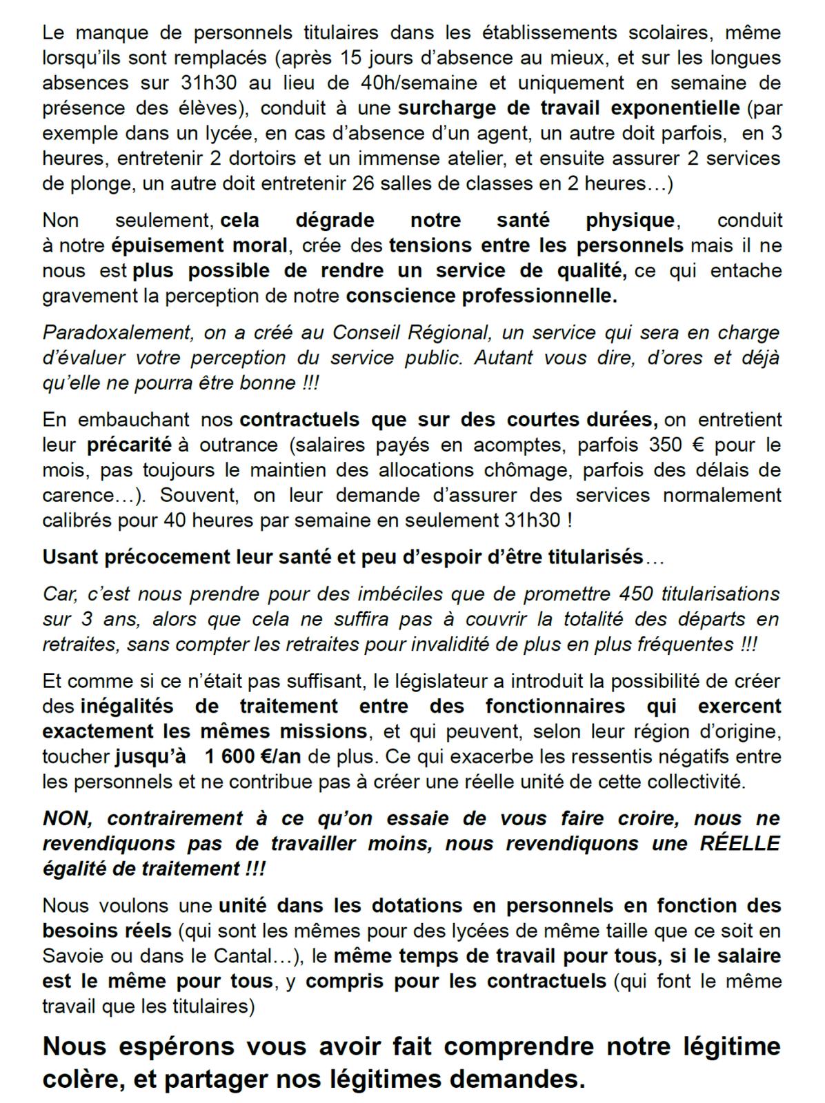 Grève des personnels techniques dans les lycées de la région Auvergne/Rhône/Alpes