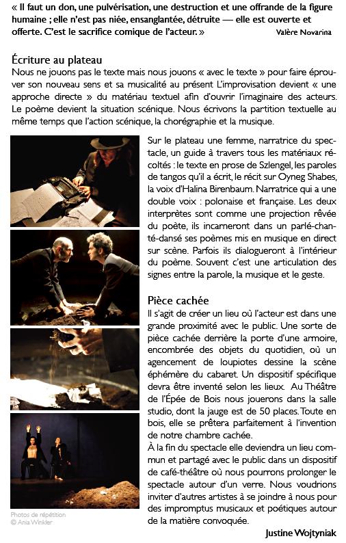 « Cabaret dans le ghetto » au P'tit Bastringue à Cosne avec La compagnie « Retour d'Ulysse »