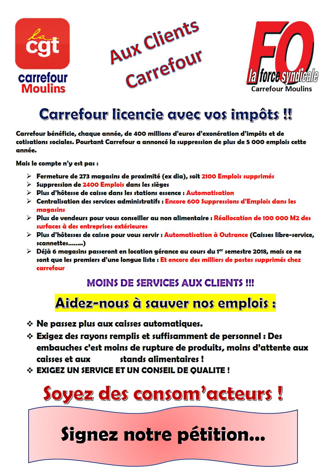 Tract de la CGT et de FO aux clients