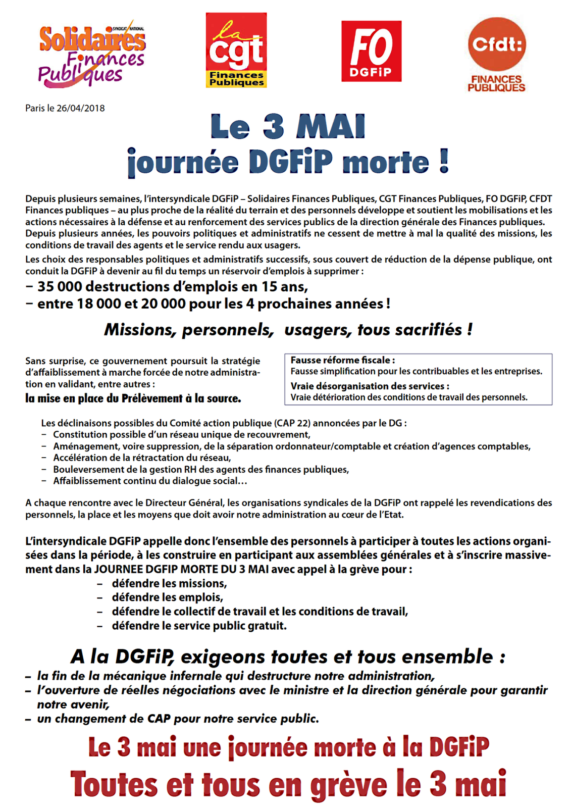 Le tract intersyndical