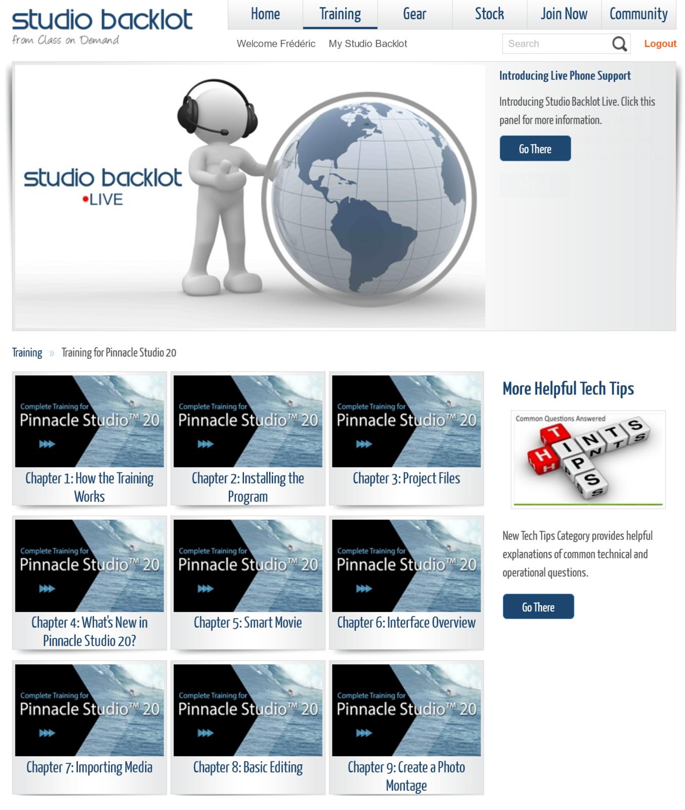Le site Studiobacklot pour les tutoriels gratuits pendant 21 jours (malheureusement en anglais)