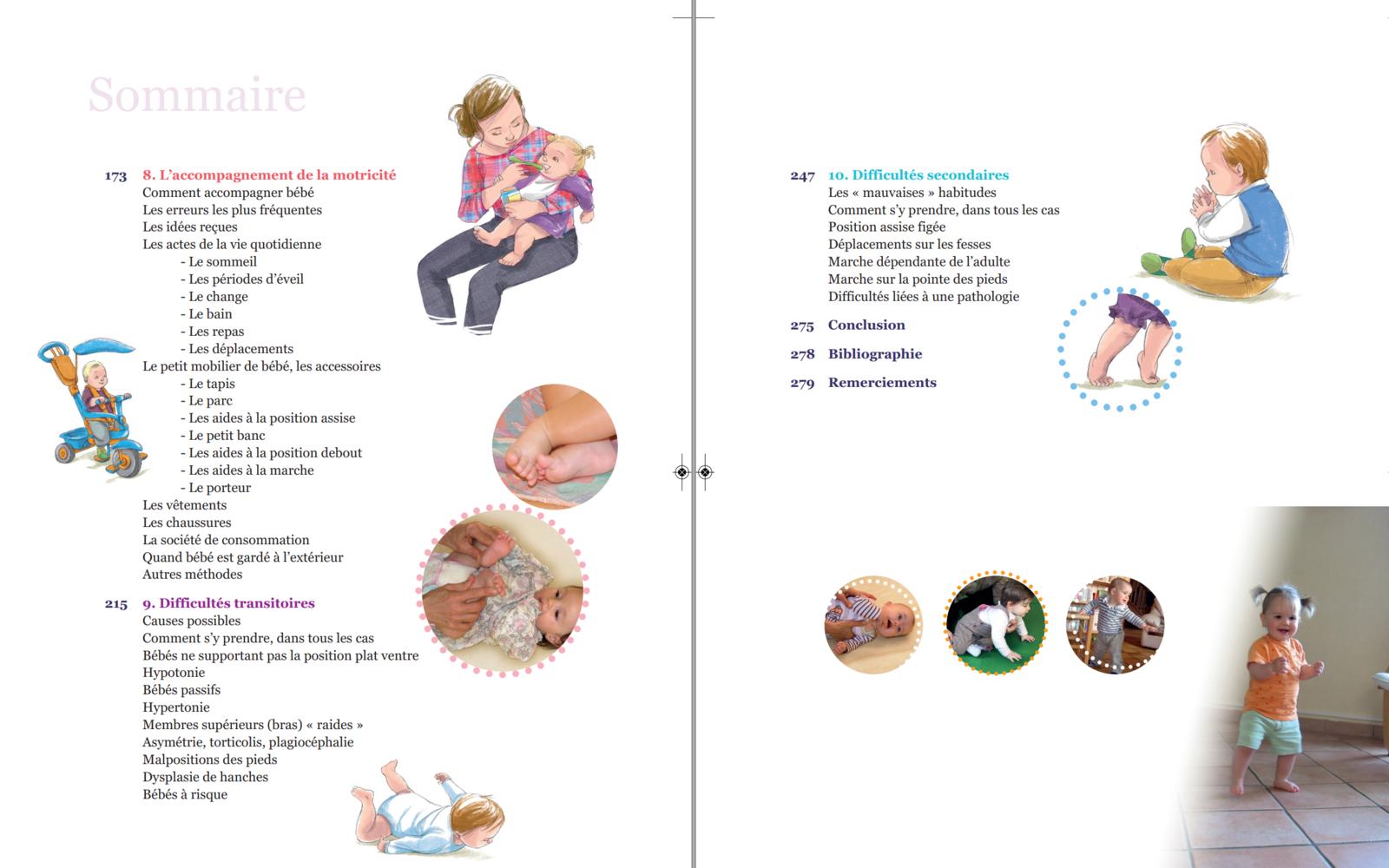 """Le sommaire du livre """"De la naissance aux premiers pas - Accompagner l'enfant dans ses découvertes motrices"""" aux éditions ERES"""
