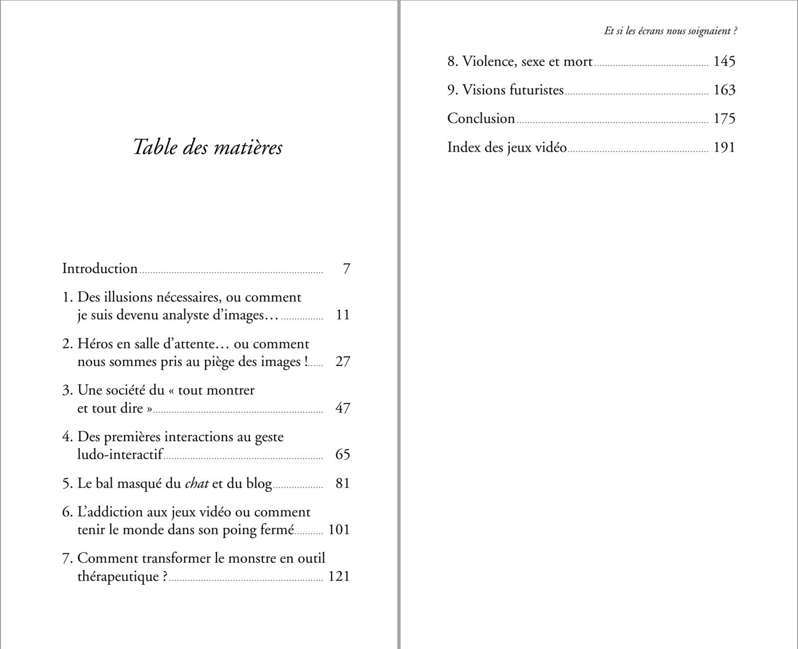 Sommaire du livre ET SI LES ECRANS NOUS SOIGNAIENT? de Michael STORA aux éditions Erès