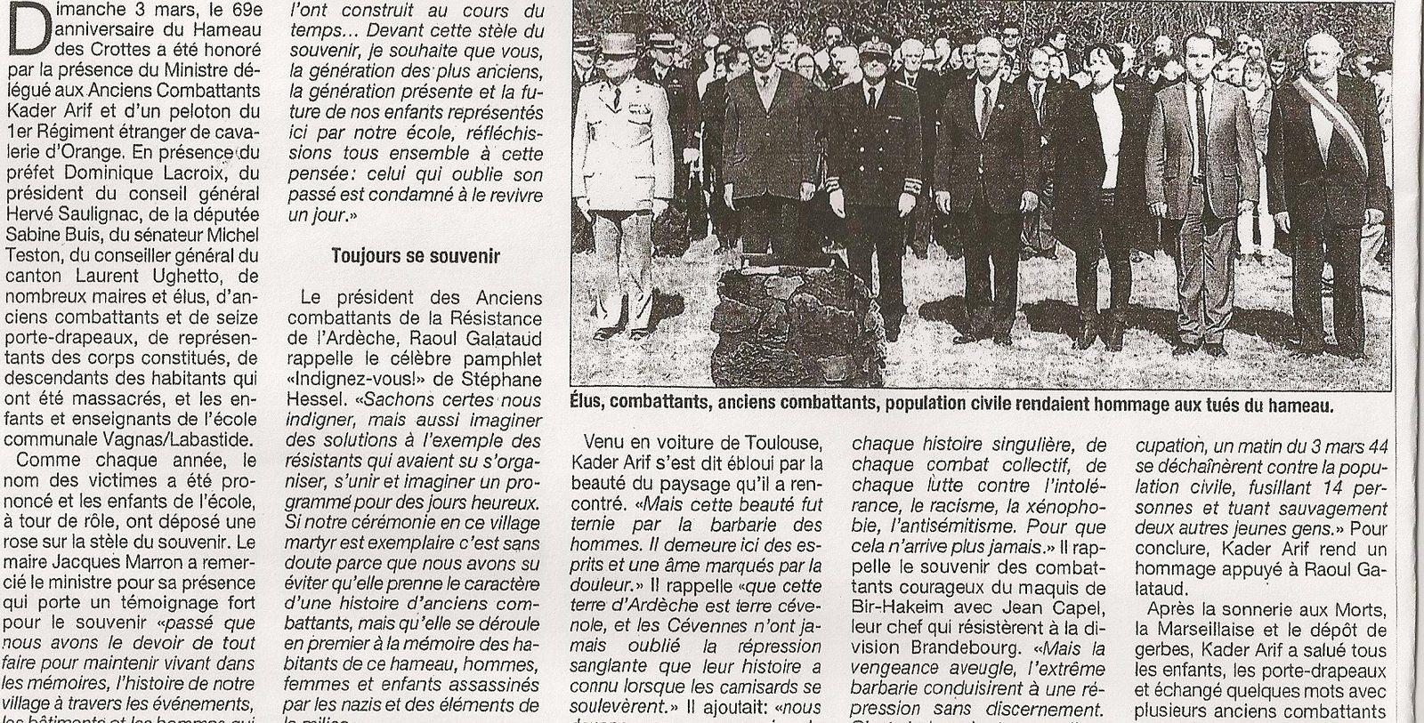 Hameau des Crottes 3 mars 1944